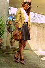 Yellow-moschino-cheap-chic-blazer-white-thrifted-blouse-gray-vintage-shorts-