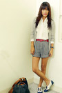 Black-archive-shorts-heather-gray-forever-21-cardigan-white-custom-made-flat