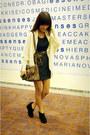 Black-g2000-dress-brown-leopard-print-vintage-scarf-light-brown-leopard-prin