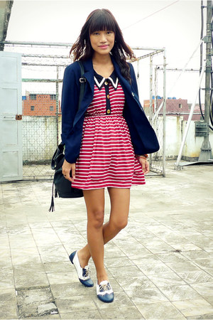red nautical shopyapicom dress - navy thrifted blazer - navy custom made flats