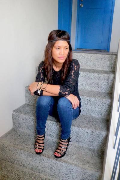 black lace top thrifted tie - boutique shoes - H&M dress - H&M accessories