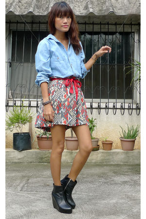 blue vintage shirt - gray fashionstopshopmultiplycom skirt - black Soule Phenome