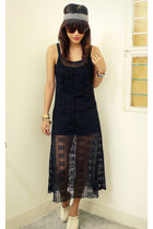 black crochet thrifted dress - black underneath H&M dress - ivory Golddot clogs