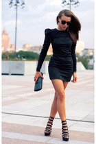 black dress - dark green bag - black heels - dark gray glasses