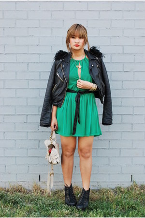 black leather Topshop jacket - green mesh Topshop dress
