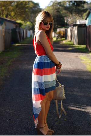 stripe Alive Girl dress - aviator ray-ban sunglasses - brown Forever 21 wedges