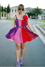 Hot-pink-chiffon-stylist-dress-purple-zara-heels