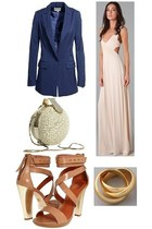 light pink maxi dress Rachel Pally dress - navy indigo Reiss blazer - eggshell e