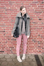 Heather-gray-only-coat-black-faux-leather-primark-jacket-black-vintage-bag