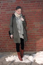 heather gray River Island dress - tawny grtz boots - army green Oasis jacket