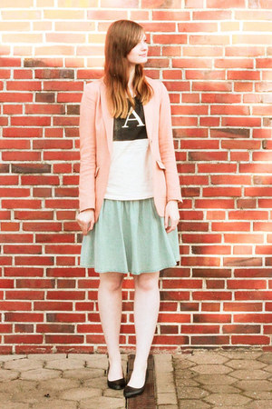 light blue denim Monki skirt - peach H&amp;M blazer - light pink asos t-shirt