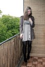 Heather-gray-primark-dress-army-green-primark-jacket-white-monki-cardigan