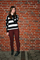 black stars  stripes Primark jumper - forest green Street boots