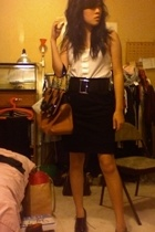 Fendi B bag accessories - H&M blouse - Express belt - Banna Republic skirt - sho