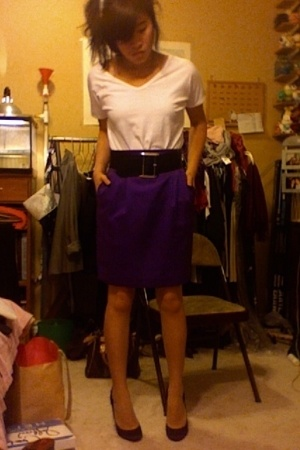 Marciano skirt - Express belt - Gap shirt - Betsey Johnson shoes
