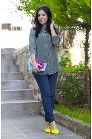 Sheinside jeans - OASAP heels - romwe iphone case