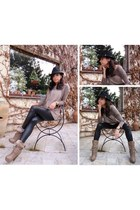 black H&M hat - light brown Mustang Shoes boots - light brown Divers sweater