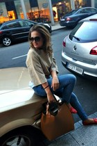 red spicks BLANCO loafers - blue Zara jeans - tawny Zara bag - beige Primark top