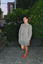 red BLANCO loafers - heather gray Zara sweater - dark brown Uterqe bag