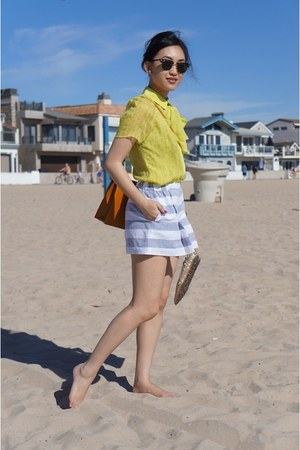 Jason Wu top - Salvatore Ferragamo bag - Crewcuts shorts - Jimmy Choo flats