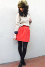 Zara skirt - Ralph Lauren boots - Macys sweater - HUE tights