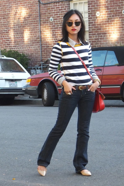 Guess jeans - Tommy Hilfiger sweater - Dooney & Bourke bag - Jimmy Choo flats