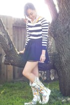 H&M skirt - Sperry Top-Sider boots - Tommy Hilfiger sweater - JCrew accessories