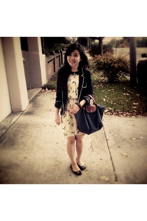 Zara dress - Zara blazer - longchamp bag - Aldo flats