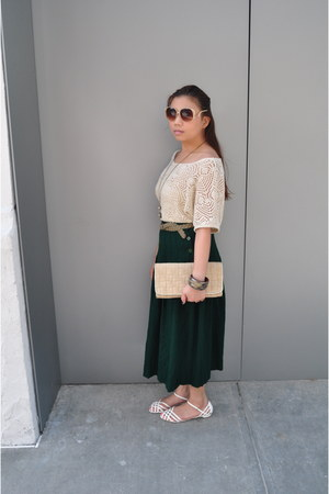 Cole Haan purse - thrifted vintage sunglasses - thrifted vintage skirt - Forever