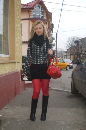 red Accessorize tights - red Nine West purse - black Zara boots - black Bershka 