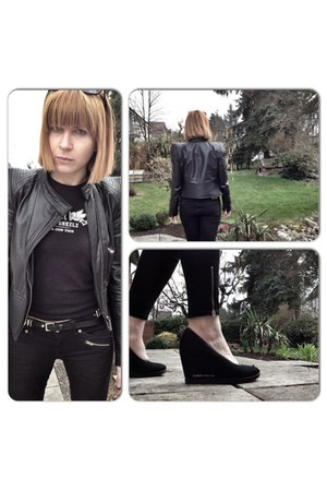black biker jeans H&M jeans - black leather asos jacket
