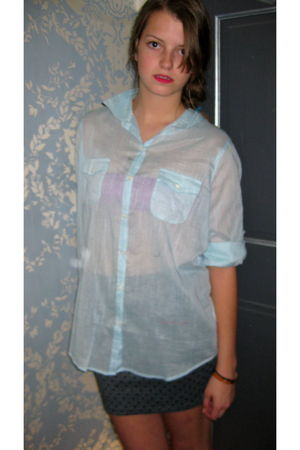 blue Urban Outfitters blouse - pink Forever 21 bra - gray Urban Outfitters skirt