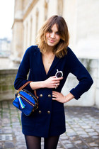 navy coat - black tights - blue purse - white sunglasses