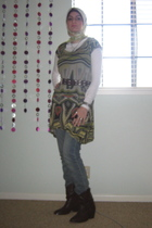 brown f21 boots - brown belt - green Zara top - blue Cheap Monday jeans