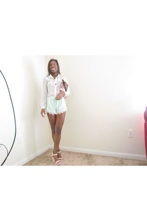mint windsor shorts - white sheer Rue 21 shirt - clutch vintage purse