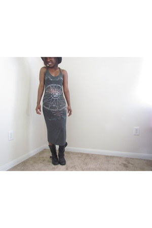 straw hat Forever 21 hat - leather Target boots - galaxy Rue 21 dress