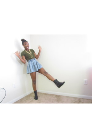 green crop top sears t-shirt - denim Love Culture skirt