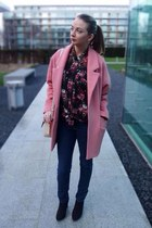 bubble gum boyfriend coat coat - black asos shirt