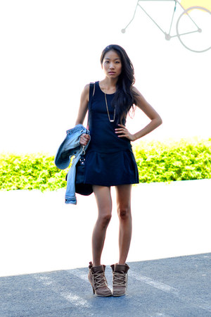 Zara dress - f21 boots - LF stores necklace
