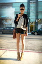 f21 top - Zara boots - H&M jacket - Joes Jeans shorts
