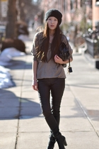 brown Zara sweater - black H&M pants - black s korea shoes - black Chloe purse -