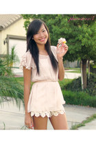 cream floral Image shorts - light pink Forever 21 top - baby pink H&M belt