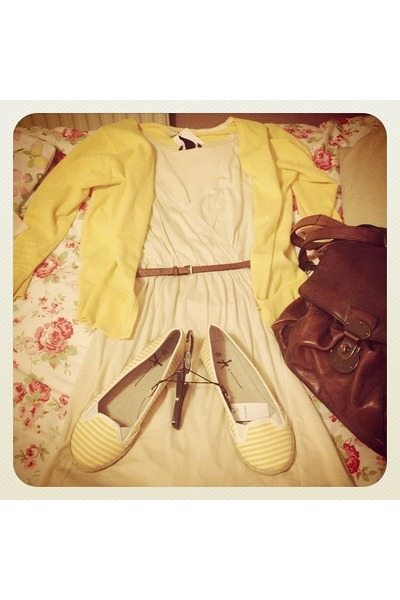 yellow pumps - neutral dress - dark brown bag - yellow cardigan