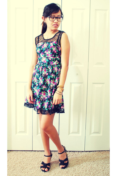 floral lace dress - wedges