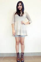 spectator yeswalker boots - knit Forever 21 dress - lace bike Forever 21 shorts