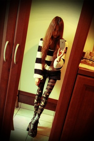 DRWCYS sweater - Dr Martens boots - EMODA pants - vivienne westwood stockings