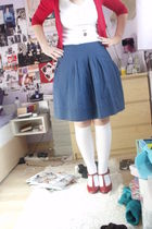 blue Gap skirt - red next shoes - white American Apparel socks - gold Accessoriz