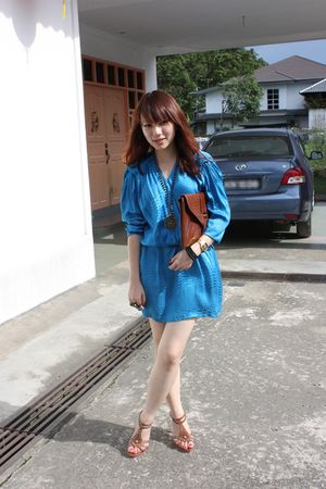 blue vintage from Ebay dress - brown Charles & Keith accessories - brown random