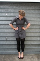 gray Max dress - black leggings - black No1 shoes shoes