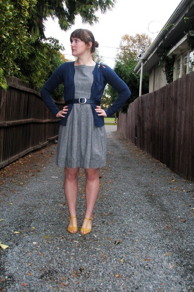 gray dress - blue cardigan - gold shoes